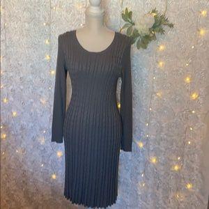 Cato Brand Gray Long Sleeve Sweater Dress, Large